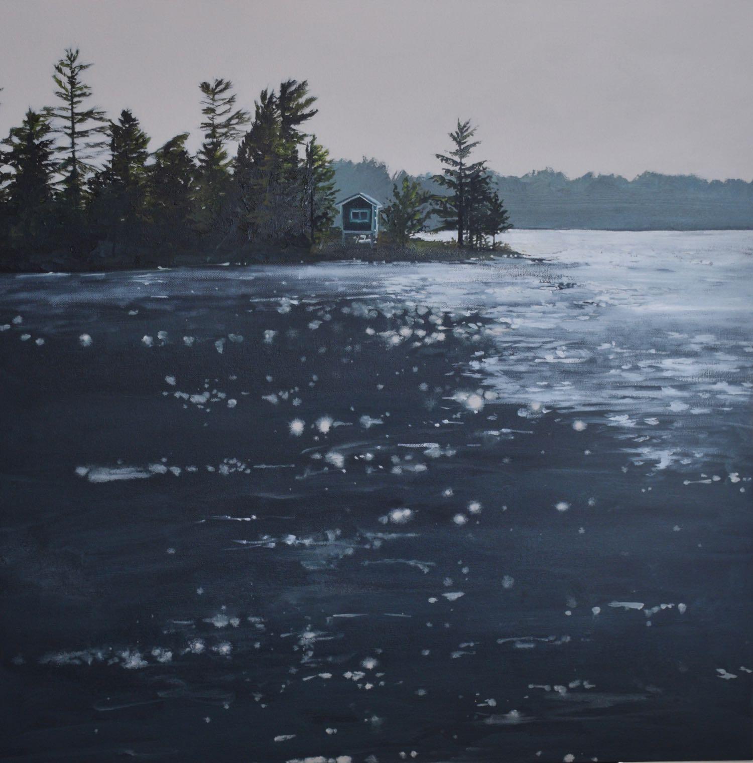 "manitouwabing lake, 2017, oil on canvas, 24"" x 24"""