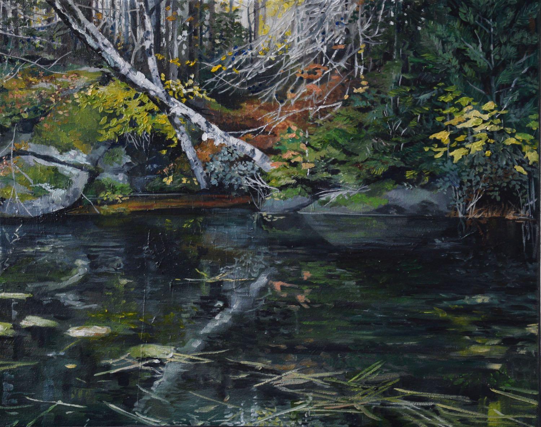 "around the corner, 2015, oil on canvas, 20"" x 16"""
