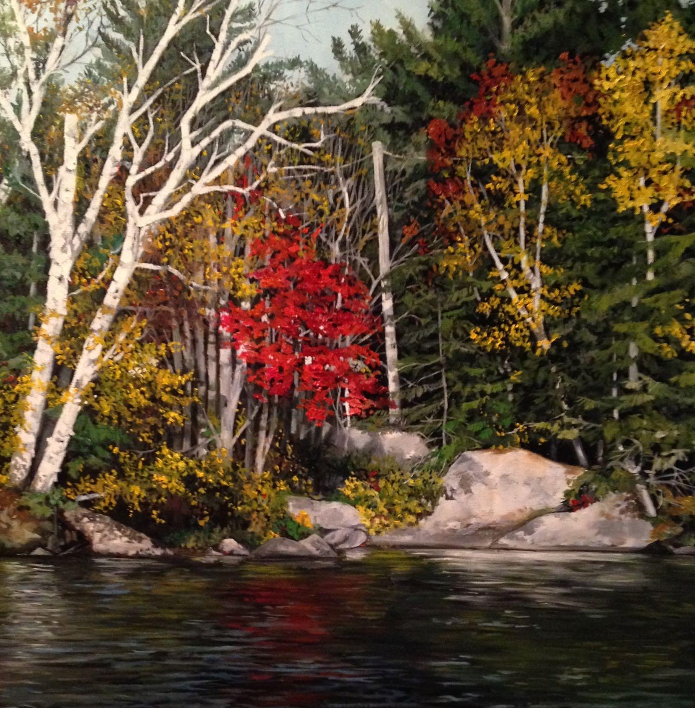 "red birch, 2013, oil on canvas, 30"" x 30"""