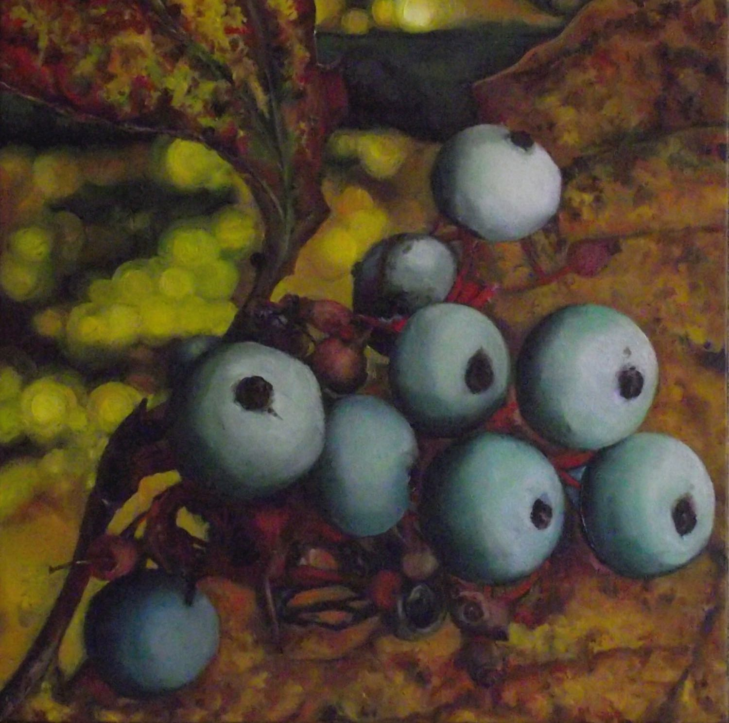 "fall berries, 2013, oil on canvas, 16"" x 16"""