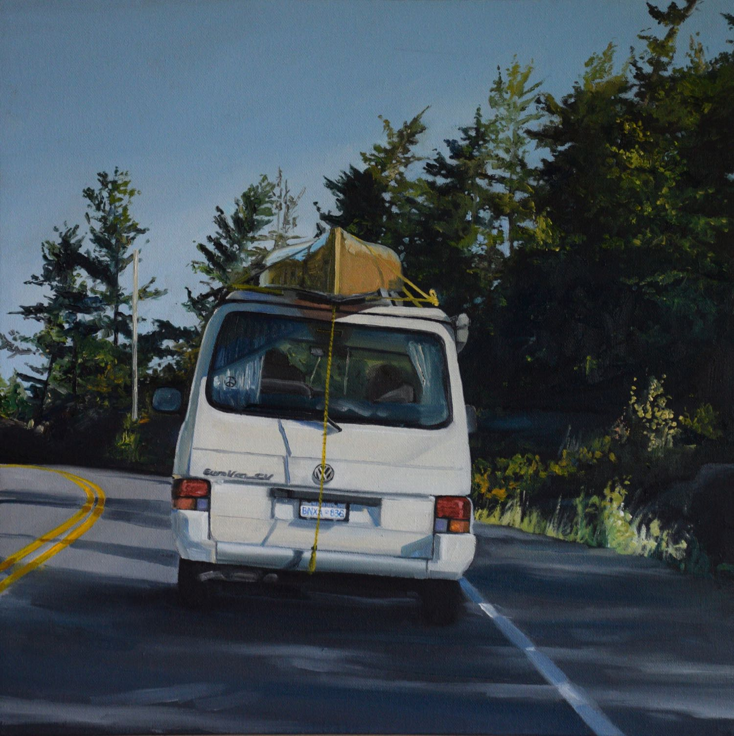 "vw camping, 2016, oil on canvas, 16"" x 16"""