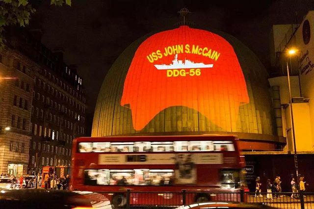 This was projected on Madame Tussaud's tonight. The British know how to welcome a petty tyrant in style!