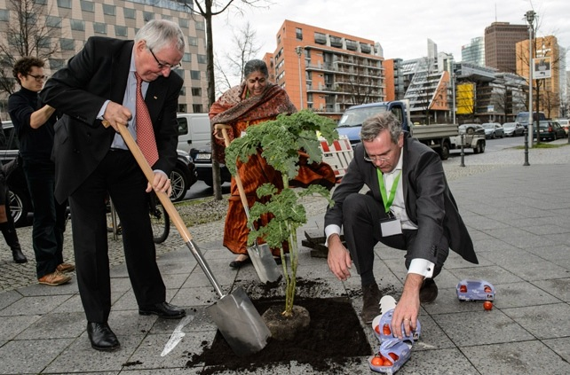 Global Soil Week attendees get down and dirty, putting a plant on a city sidewalk. Photo from Global Soil Week website's    photo gallery   .