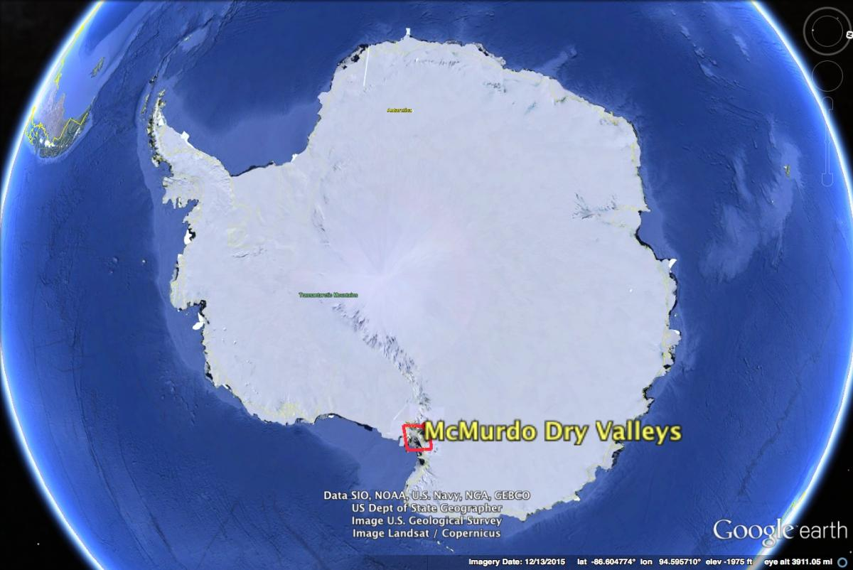 Map of Antarctica showing McMurdo Dry Valleys' location, created in Google Earth with imagery from US Geological Survey and Landsat