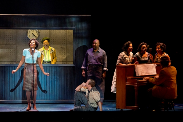 Jasmin Richardson as Felicia, Avionce Hoyles as Gator, Jerrial T. Young as Bobby and Joey Elrose as Huey and the National Touring Cast of MEMPHIS. Photo Credit: Jeremy Daniel