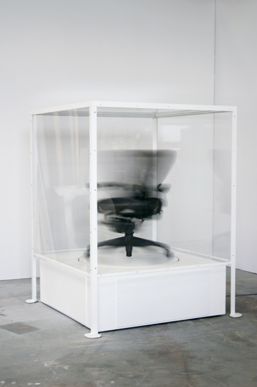 The Siege Perilous, 2002. Glenn Kaino (born 1972, USA). Aeron chair, Plexiglas, wood and steel base, and mechanized component 65 x 49 x 49 in. (165.1 x 124.5 x 124.5 cm) Collection of Bill Cisneros Photo: Glenn Kaino, Courtesy the artist and Honor Fraser Gallery