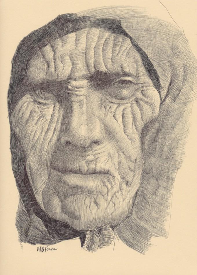 "Michael S. Fenton, Babushka, 2013, ball pen on paper, 9""x12"", courtesy of the artist"