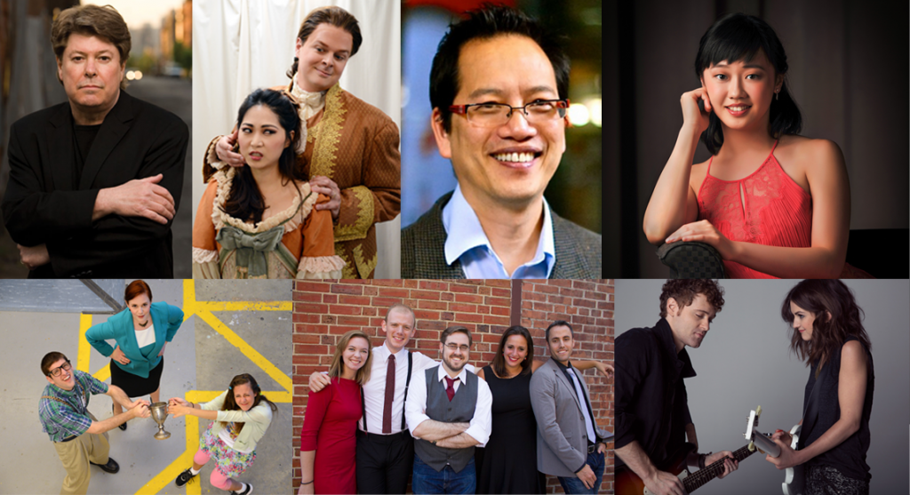 """Clockwise from top left: Jazz bandleader Falkner Evans, """"The Marriage of Figaro,"""" Artistic Director Richard Tang Yuk, Pianist Fei Fei Dong, Striking-Matches, West Side 5 and """"The 25th Annual Putnam County Spelling Bee."""" Photos courtesy of the Princeton Festival and Jessi Franko."""
