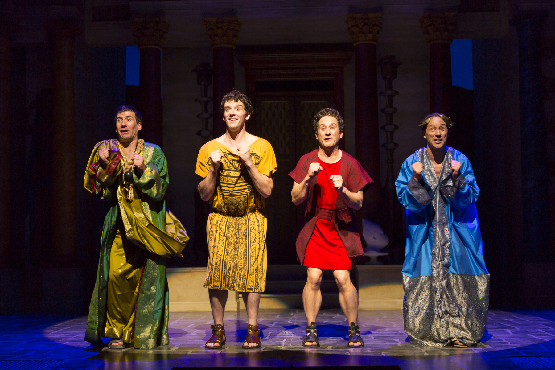 David Josefsberg (Marcus Lycus), Michael Urie (Hysterium), Christopher Fitzgerald (Pseudolus), and Kevin Isola (Senex) in A Funny Thing Happened on the Way to the Forum at Two River Theater. Photo by T. Charles Erickson.