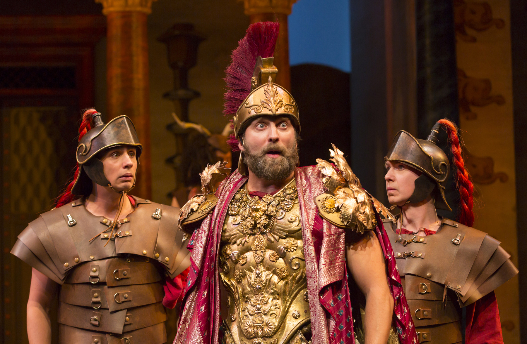 Bobby Conte Thornton (Roman Soldier), Graham Rowat (Miles Gloriosus), and David Turner (Roman Soldier) in A Funny Thing Happened on the Way to the Forum at Two River Theater. Photo by T. Charles Erickson.