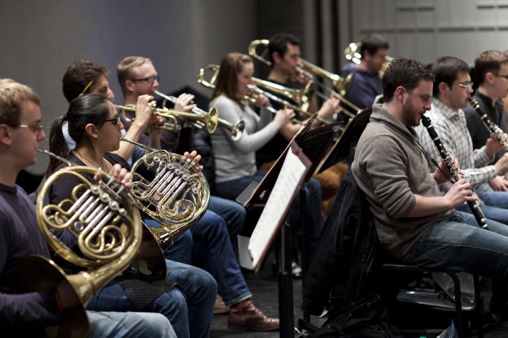 Symphony in C concert rehearsal brass and clarinets, photo credit Douglas Bovitt