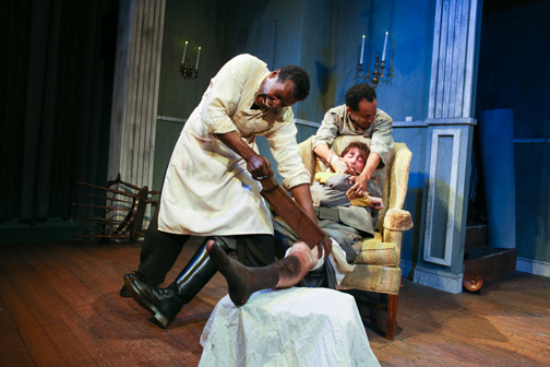 "Jesse N. Holmes as Simon, Justin Pietropaolo as Caleb and Anthony Simone as John in Cape May Stage's production of ""The Whipping Man"""