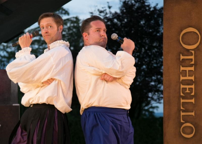 The Complete Works of William Shakespeare (abridged) (revised) by Adam Long, Daniel Singer, and Jess Winfield. The Shakespeare Theatre of New Jersey 2016. Directed by Jeffrey M. Bender. Pictured left to right: Jon Barker, Connor Carew. Photo credit: Jerry Dalia