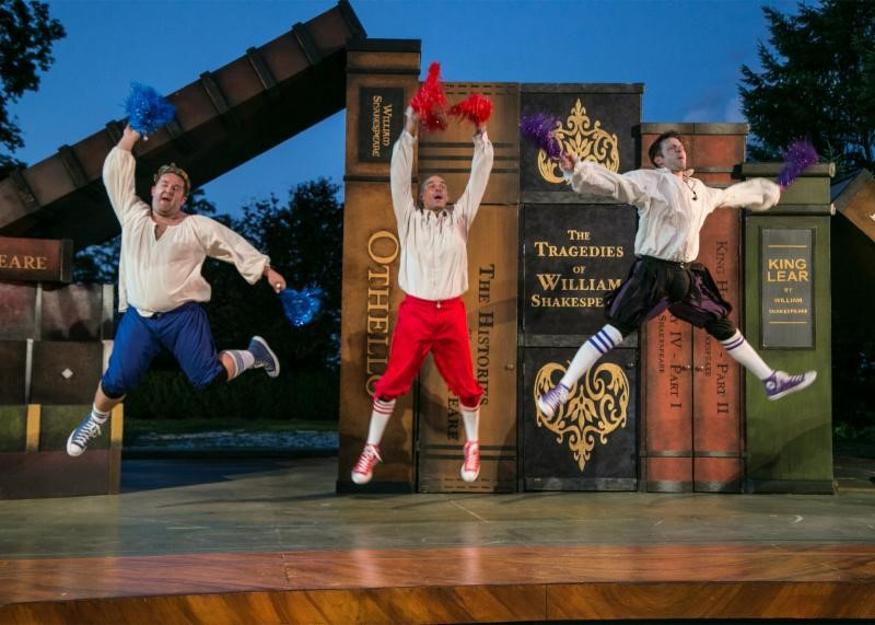 The Complete Works of William Shakespeare (abridged) (revised) by Adam Long, Daniel Singer, and Jess Winfield. The Shakespeare Theatre of New Jersey 2016. Directed by Jeffrey M. Bender. Pictured left to right: Connor Carew, Patrick Toon, Jon Barker. Photo credit: Jerry Dalia