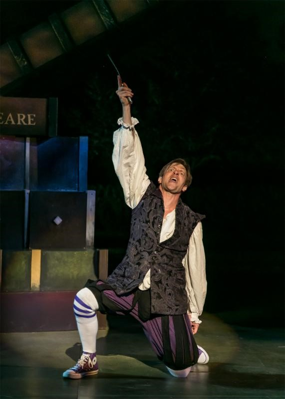The Complete Works of William Shakespeare (abridged) (revised) by Adam Long, Daniel Singer, and Jess Winfield. The Shakespeare Theatre of New Jersey 2016. Directed by Jeffrey M. Bender. Pictured: Jon Barker. Photo credit: Jerry Dalia