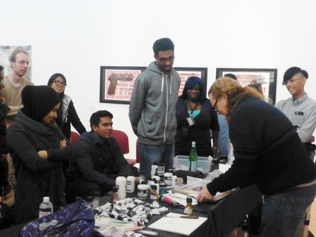 A public program demonstration of painting materials led by Winsor and Newton representative in the Robeson Campus Center Gallery.