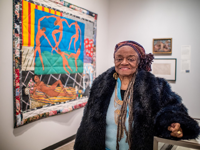 Faith Ringgol and her piece, Matisse's Model. Photo courtesy of Montclair Art Museum
