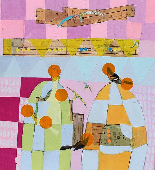 A Birder's Guide, by Jonathan Ricci, 2015. Acrylic and collage on canvas, 42 inches x 40 inches