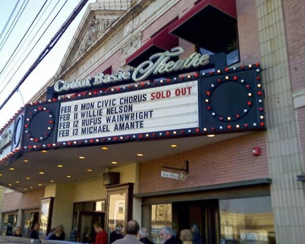 Marquee at Count Basie Theatre for Monmouth Civic Chorus' Lincoln Bicentennial Celebration concert