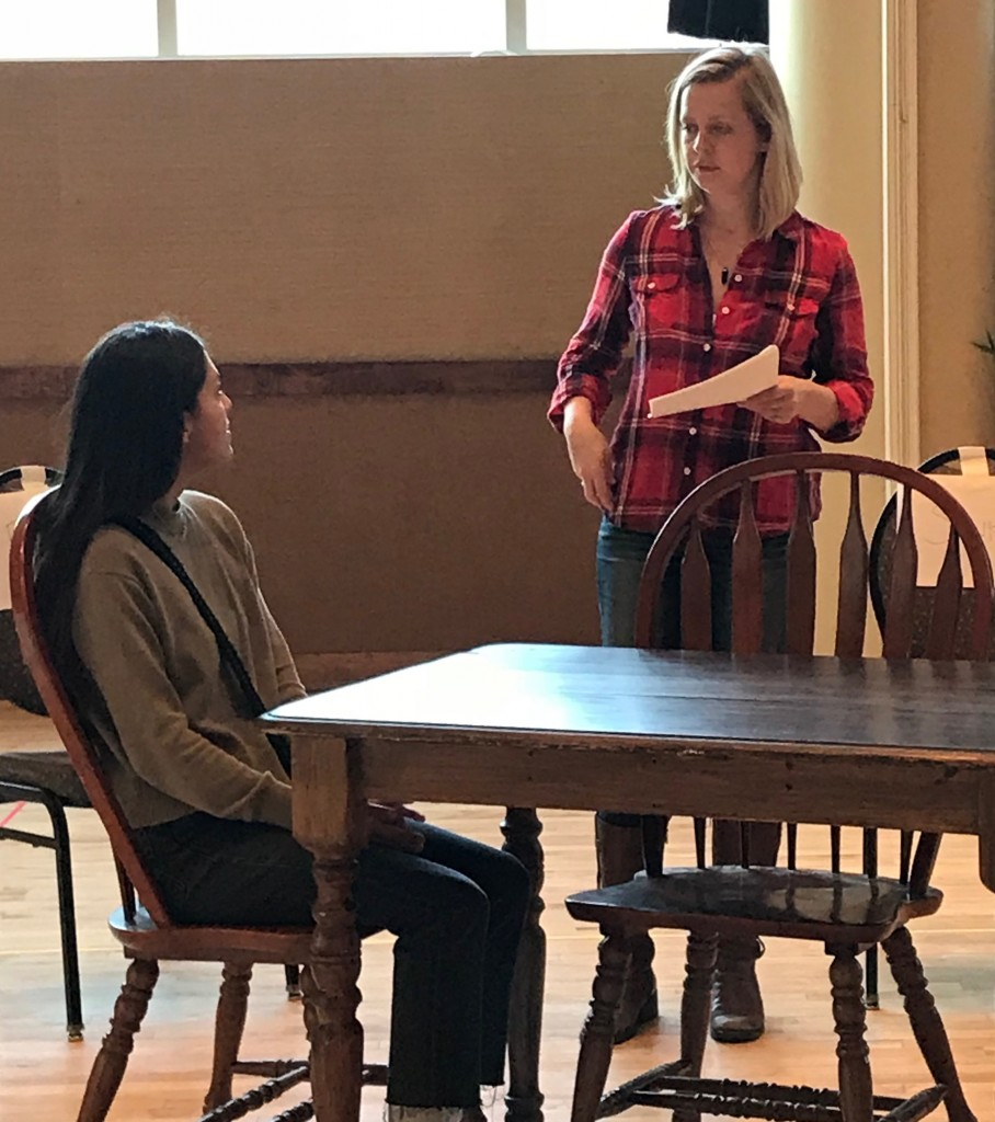 Characters Carla and Bonnie in rehearsal