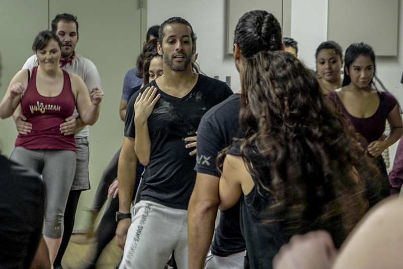 Luis Salgado leading a dance rehearsal for Ragtime at Axelrod PAC. Photo courtesy of Hahn Films.