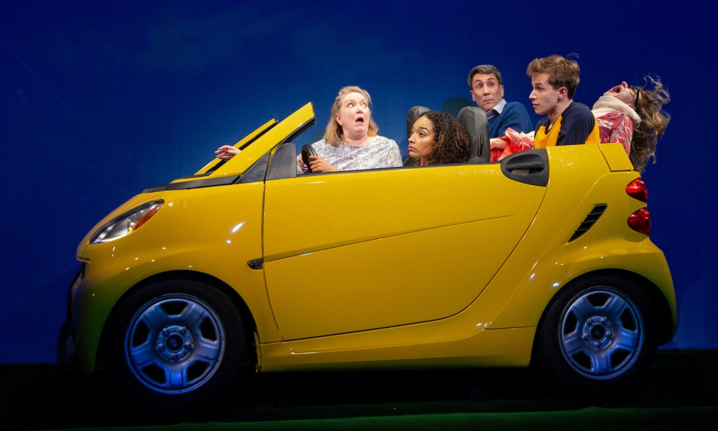 (l-r) Kristine Nielsen, Rachel Nicks, Robert Sella, Nicholas Podany, and Jenn Harris. Photo by T. Charles Erickson