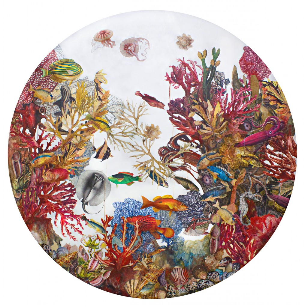 'Underwater Forest' by Luis Bivar. Acrylic and mixed media on canvas, 59-inch round