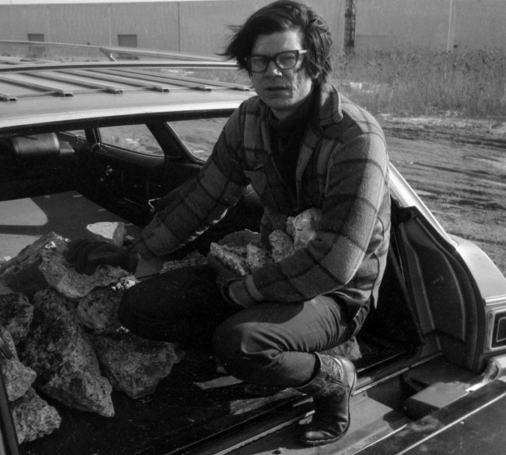 Robert Smithson collecting materials for Line of Wreckage, Bayonne, NJ (with Ted Castle), 1968.