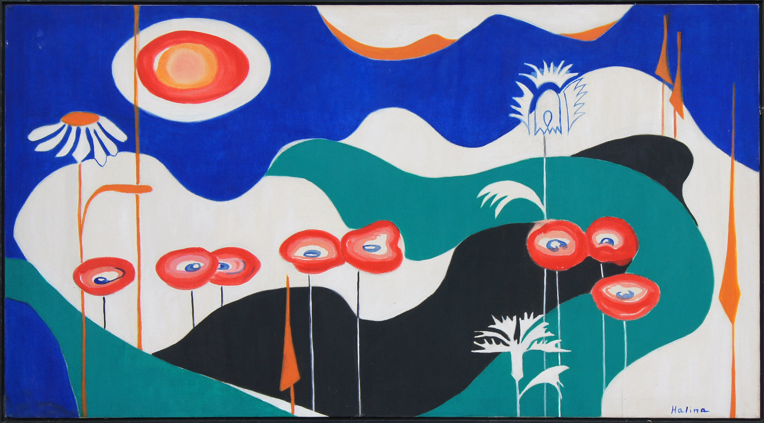 "Helena Rusak (1928-2000), ""Scarlet Sentinels,"" 1973 - Acrylic on canvas, collection of Natasha Rusak and Ludmilla Rusak Grant"
