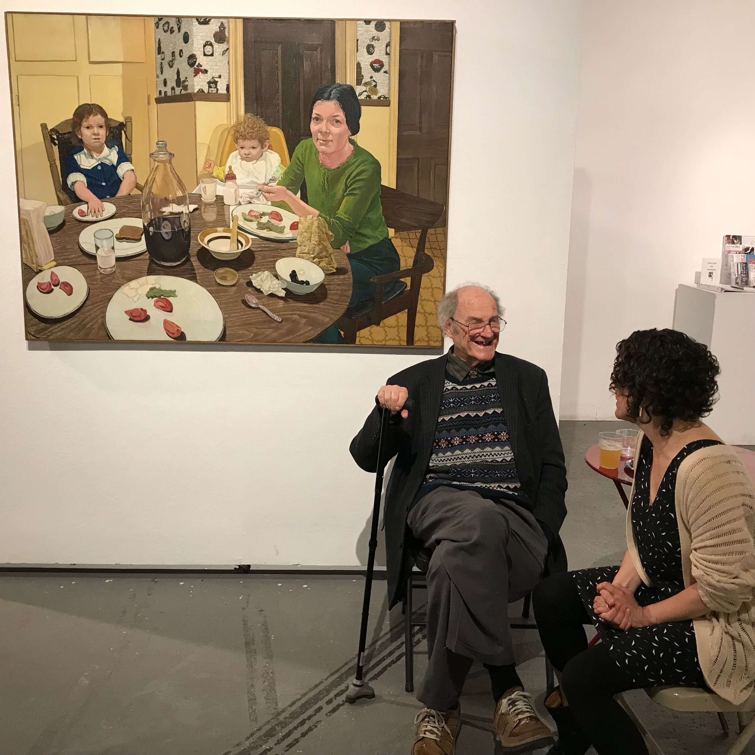 Mel Leipzig with his painting of his family in 1975 at The Shared Meal opening.JPG