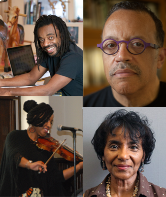 Clockwise from top left: Willie Cole, Wendel White, Gwen Moten and Laticia Lewis