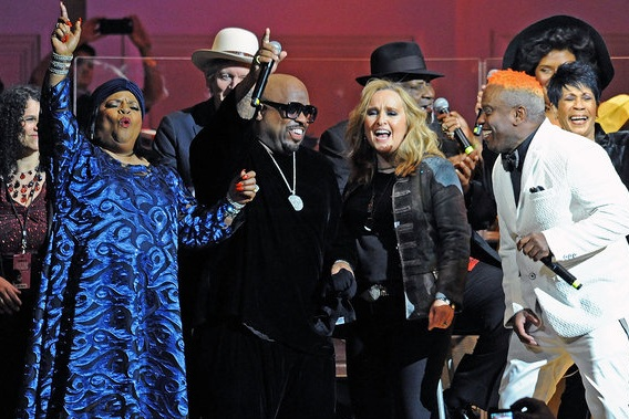 Sarah Dash, Rodney Crowell, CeeLo Green, Melissa Etheridge and Corey Glover perform at The Music Of Aretha Franklin show at Carnegie Hall, March 2017. Photo by Bobby Bank/WireImage