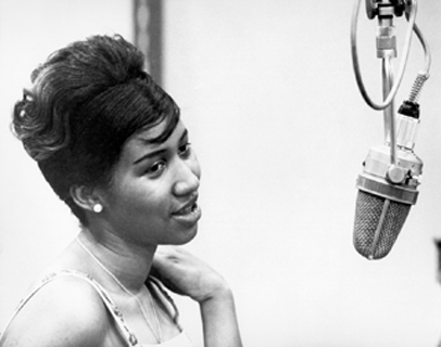 Aretha Franklin recording at the piano at Columbia Studios in New York, 1962. Credit- Getty Images