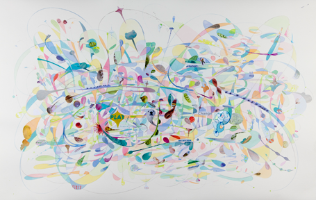 Aurora Robson,  Lambie , 2017, 20 in. X 30 in., Ink and junk mail on paper, Courtesy of the artist.