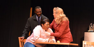Nakia Dillard as Dun, Sasha Allen as Nya, and Libby White as Laurie  in SCTC's  Pipeline