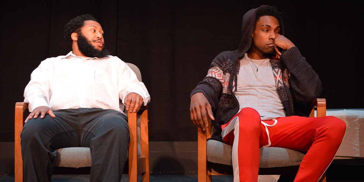 Nathan Alford-Tate as Xavier and Brian Neal as Omari in SCTC's  Pipeline