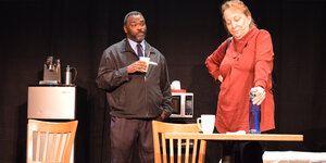 Nakia Dillard as Dun and Libby White as Laurie  in SCTC's  Pipeline