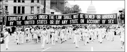 """""""Equality of rights under the law shall not be denied or abridged by the United States or by any state on account of sex."""""""