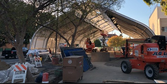 Construction in process on the Hollywood Bridge housing project on Schrader Avenue.