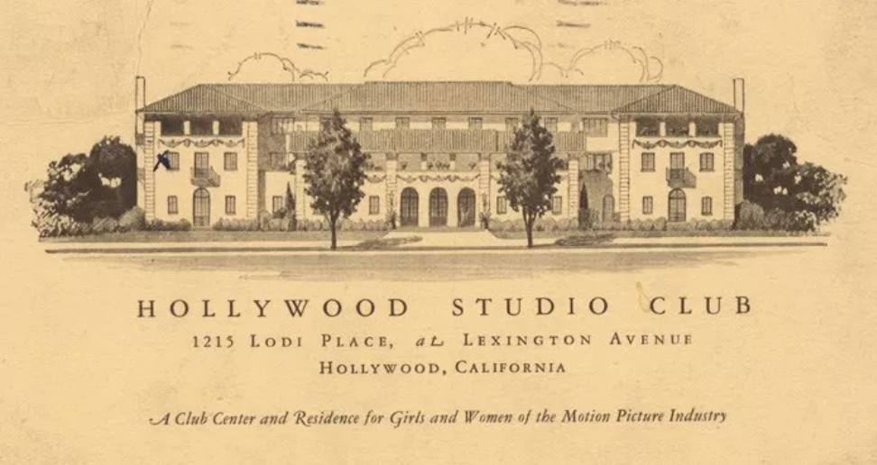 A 1916 postcard advertising the Studio Club as a residence for women in the budding film industry.