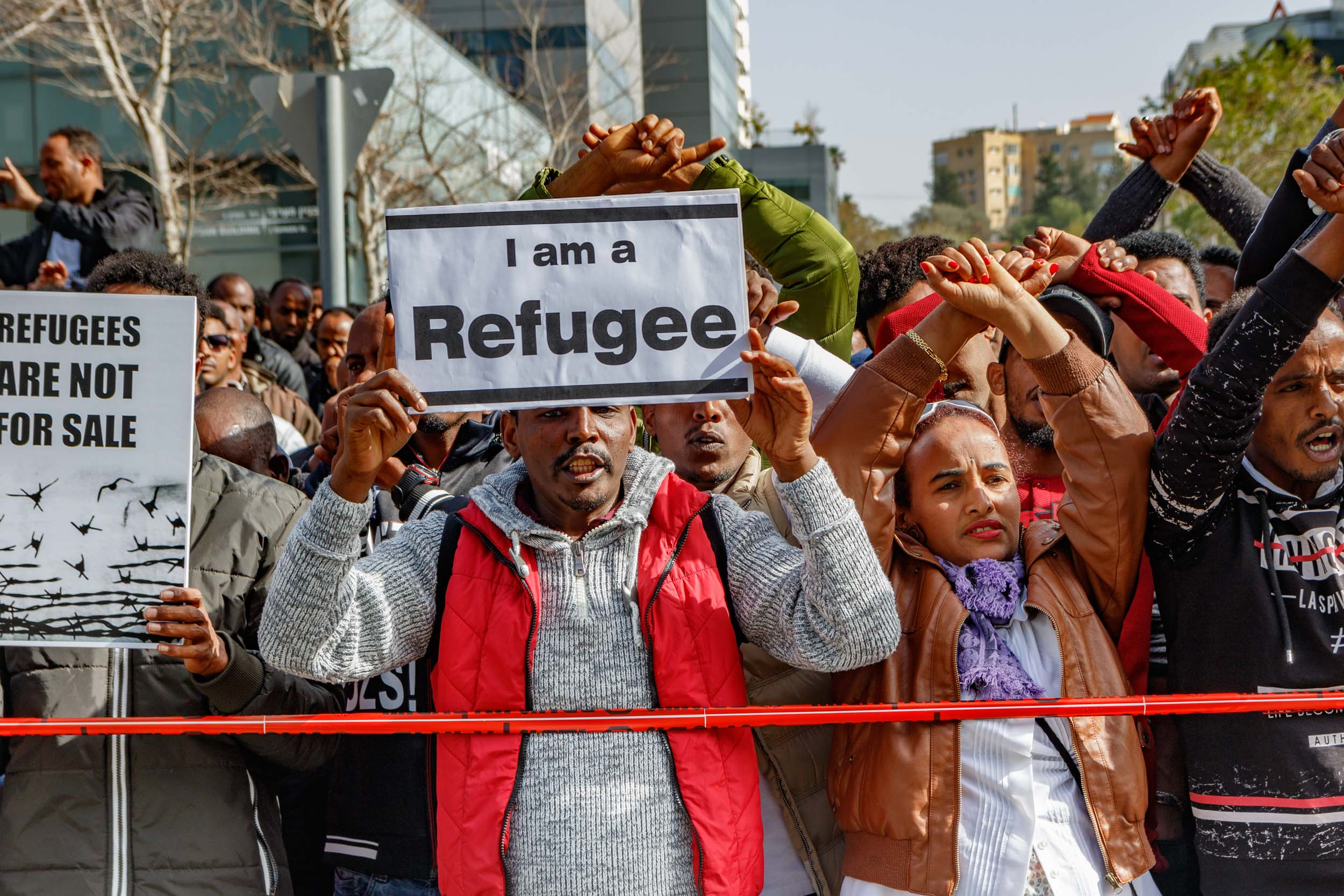 Israel, January 2018 - Illegal immigrants and asylum seekers from Africa protest the decision to expel them back