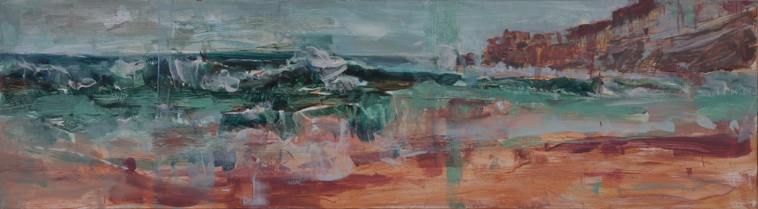 A Distant Wave II 2018 10'' x 36'' oil on canvas