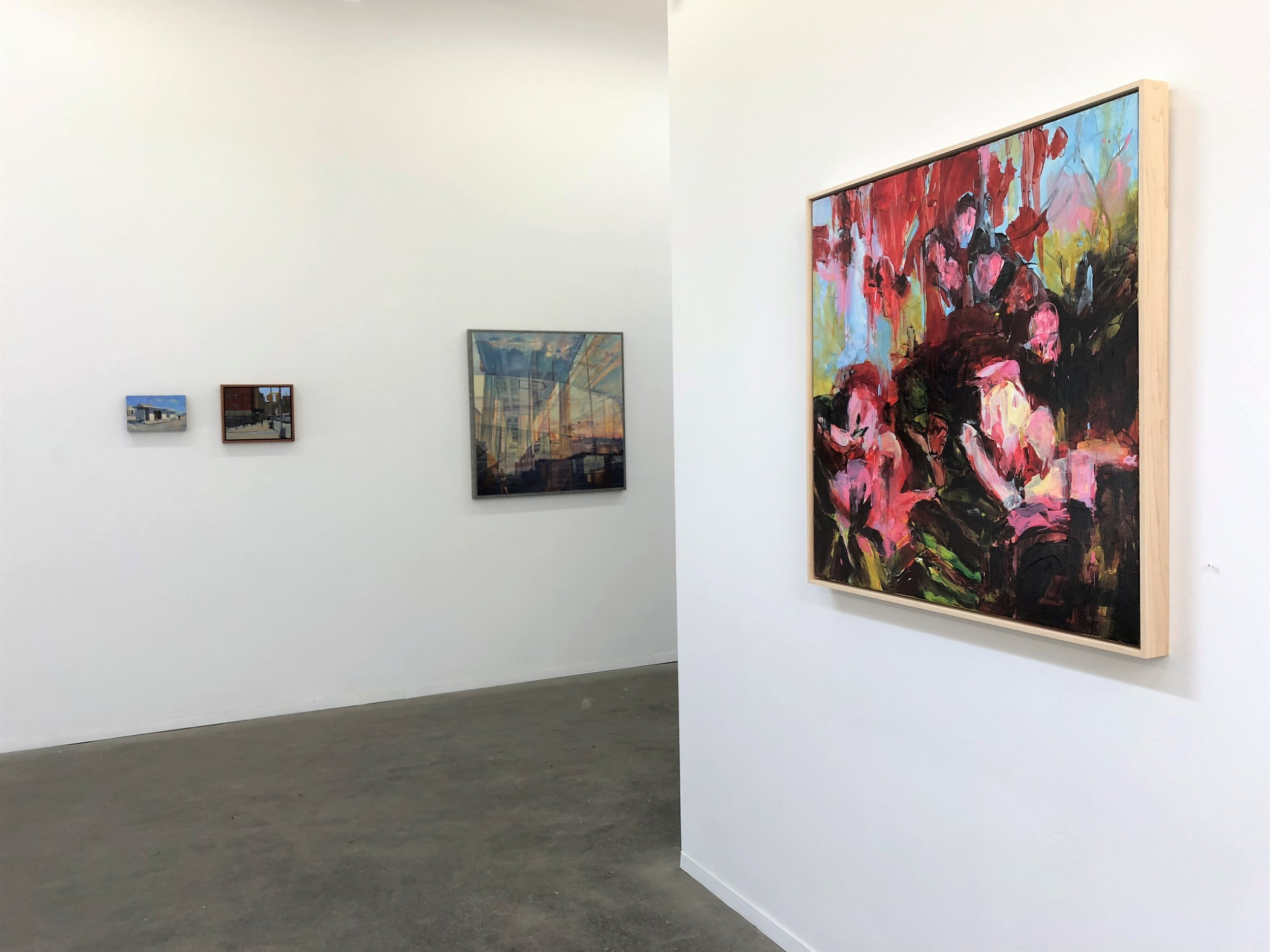 Maroon Garden 2018 36'' x 36'' oil on canvas at George Billis Gallery LA