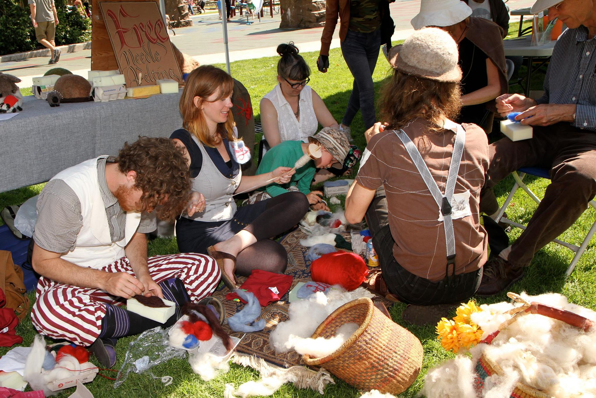 Spinning and felting at  The Gathering Festival