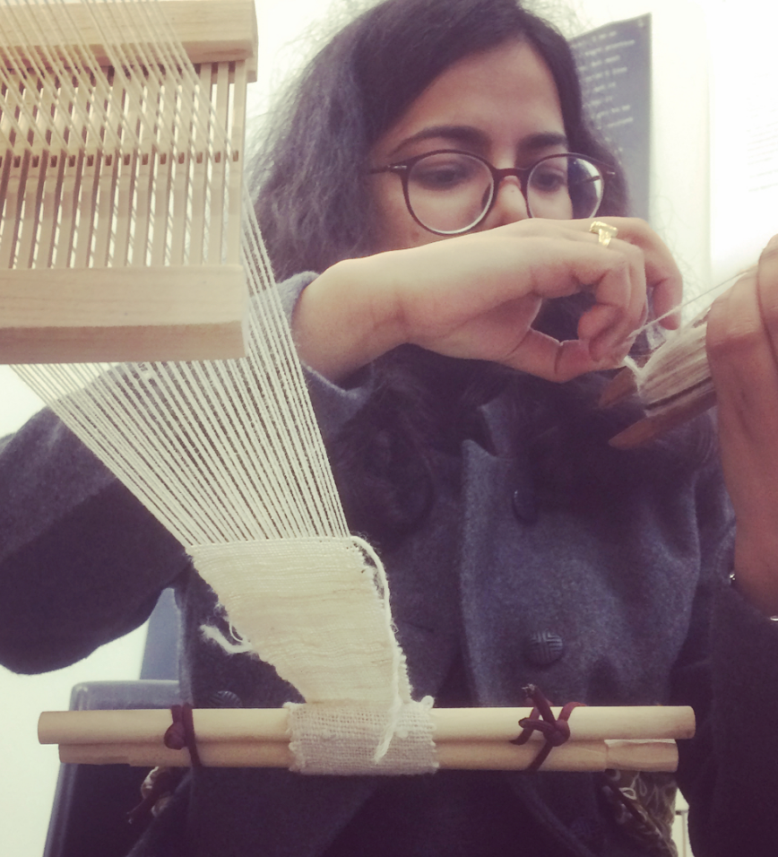 Weaving with participants at Emily Carr studio Open House, 2018.