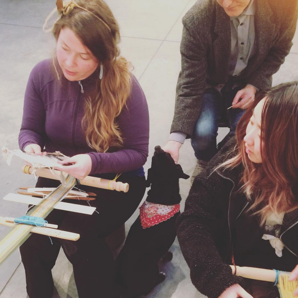 Weaving at the  Future of Education Project  Exhibition, Emily Carr University, (In partnership with Nicola Hodges), 2017.