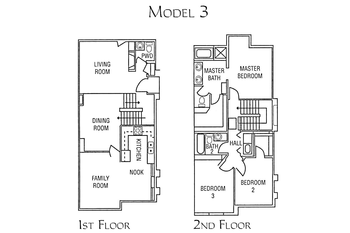 model 3 - 3 bed 2.5 bath * 1,620 SF