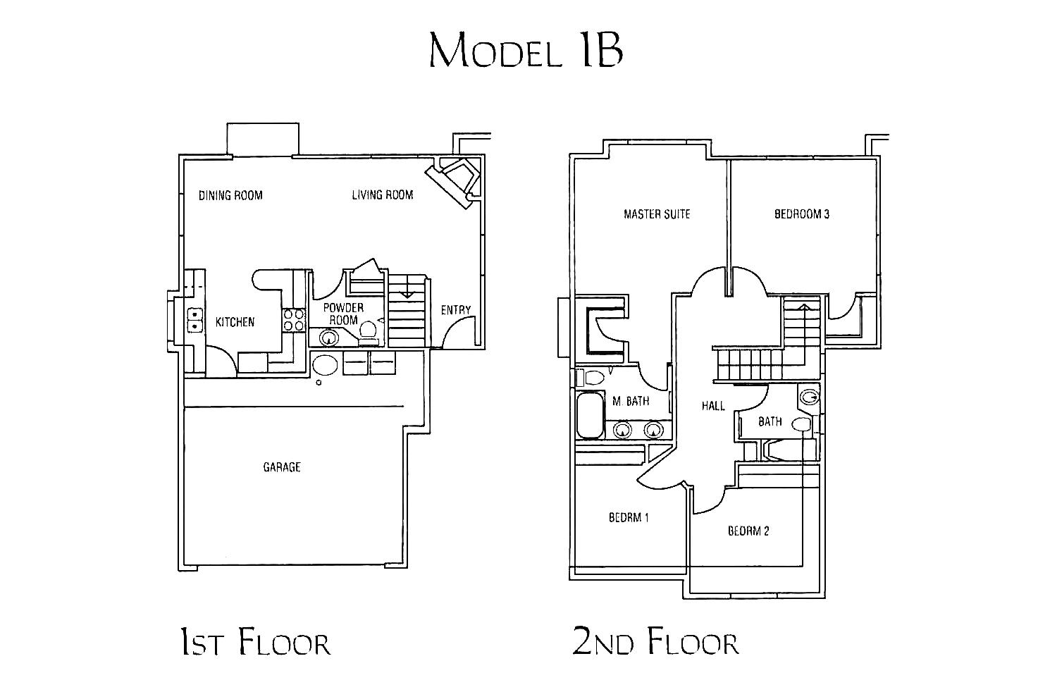 model 1B - 4 bed 2.5 bath * 1,625 - 1,689 SF