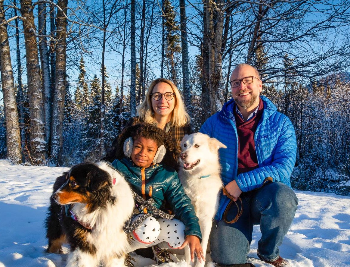 Meg with her husband Zach, daughter Zelda and two dogs.