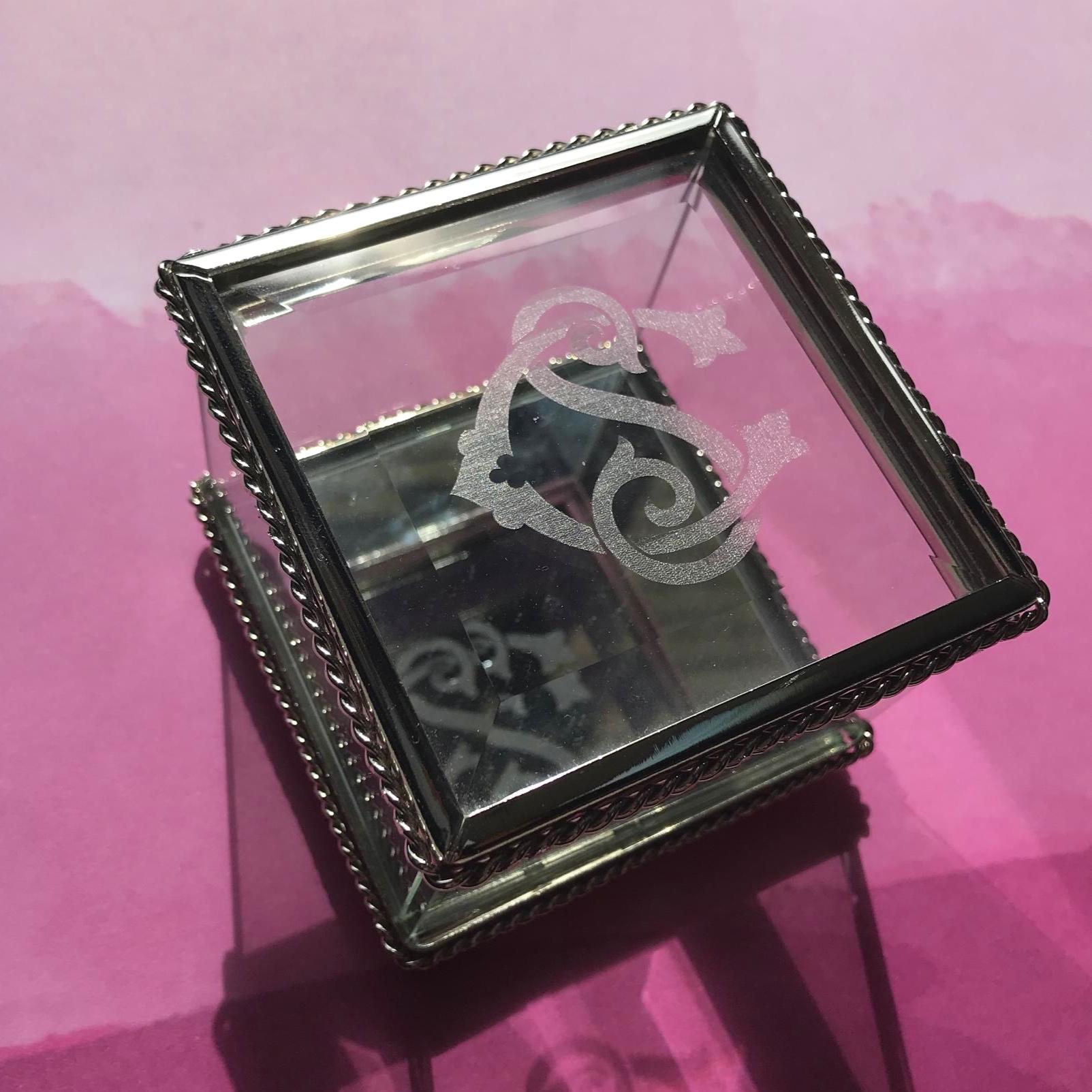 Laser engraved glass trinket box